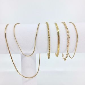 Gold Tone Bracelets and Necklace